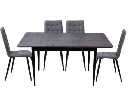 Miami Extending Dining Table + 4 Milan Chairs Open-785x785