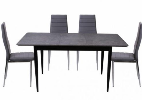 Miami Extending Dining Table + 4 Torino Grey Chairs